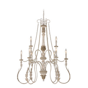 Zoe Antique Linen Nine Light Chandelier
