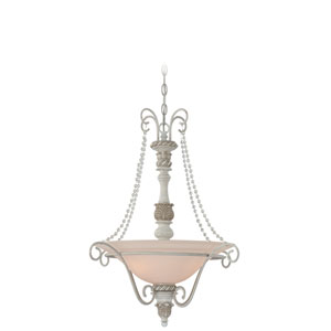 Zoe Antique Linen Three Light Pendant