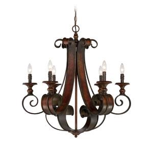 Seville Spanish Bronze Six-Light Chandelier