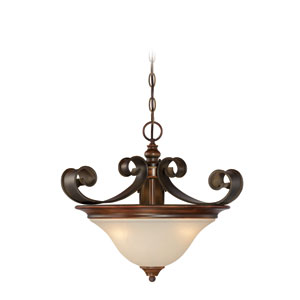 Seville Spanish Bronze Three-Light Semi-Flush Mount with Creamy Frosted Glass Shade
