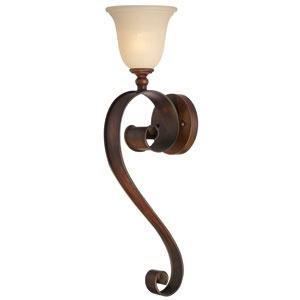 Seville Spanish Bronze One-Light Wall Sconce with Creamy Frosted Glass Shade