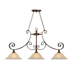 Seville Spanish Bronze Three-Light Island Pendant with Creamy Frosted Glass Shade