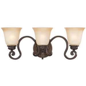 Josephine Antique Bronze Three-Light Vanity with Salted Caramel Glass Shade