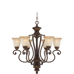Josephine Antique Bronze Six-Light Chandelier with Salted Caramel Glass Shade