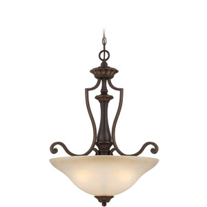 Josephine Antique Bronze Three-Light Pendant with Salted Caramel Glass Shade