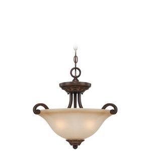 Josephine Antique Bronze Three-Light Semi-Flush Mount with Salted Caramel Glass Shade