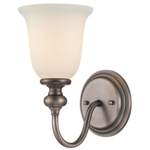Willow Park Antique Nickel One-Light Bath Sconce with Creamy Frosted Glass Shade
