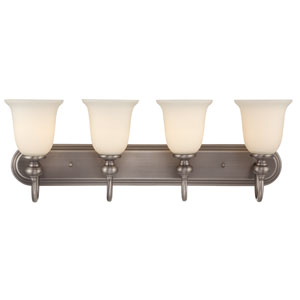 Willow Park Antique Nickel Four-Light Vanity with Creamy Frosted Glass Shade