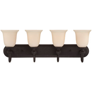 Willow Park Gothic Bronze Four-Light Vanity with Creamy Frosted Glass Shade