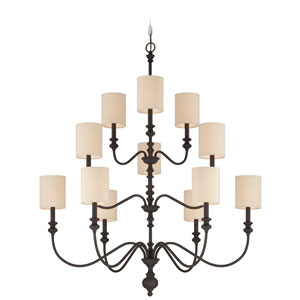 Willow Park Gothic Bronze 12-Light Chandelier with Beige Fabric Shade