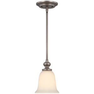 Willow Park Antique Nickel One-Light Mini Pendant with Creamy Frosted Glass Shade