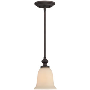 Willow Park Gothic Bronze One-Light Mini Pendant with Creamy Frosted Glass Shade