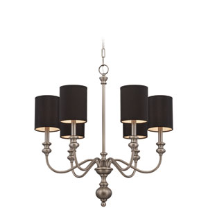 Willow Park Antique Nickel Six-Light Chandelier with Black Fabric Shade