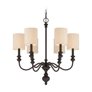 Willow Park Gothic Bronze Six-Light Chandelier with Beige Fabric Shade