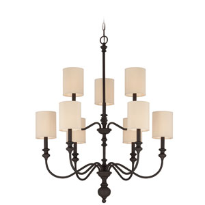 Willow Park Gothic Bronze Nine-Light Chandelier with Beige Fabric Shade