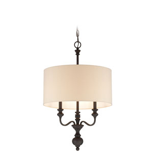 Willow Park Gothic Bronze Three-Light Chandelier with Beige Fabric Shade