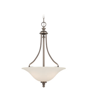 Willow Park Antique Nickel Three-Light Pendant with Creamy Frosted Glass Shade