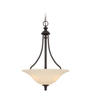 Willow Park Gothic Bronze Three-Light Pendant with Creamy Frosted Glass Shade