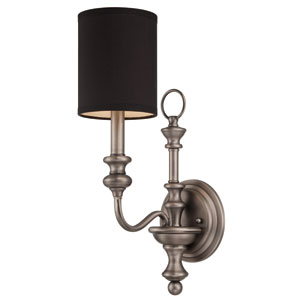 Willow Park Antique Nickel One-Light Wall Sconce with Black Fabric Shade