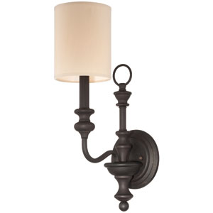 Willow Park Gothic Bronze One-Light Wall Sconce with Black Fabric Shade