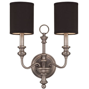 Willow Park Antique Nickel Two-Light Wall Sconce with Black Fabric Shade
