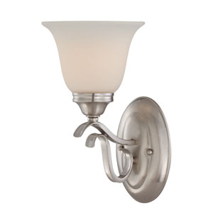 McKinney Brushed Nickel One-Light Bath Sconce with Frosted White Glass Shade