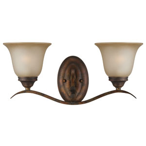 McKinney Burleson Bronze Two-Light Vanity with Light Tea Stain Glass Shade