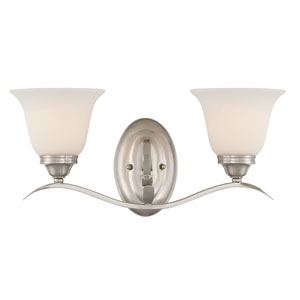 McKinney Brushed Nickel Two-Light Vanity with Frosted White Glass Shade