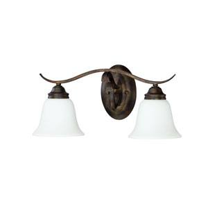 McKinney Burleson Bronze Two-Light Vanity with White Frosted Glass Shade