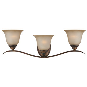McKinney Burleson Bronze Three-Light Vanity with Light Tea Stain Glass Shade