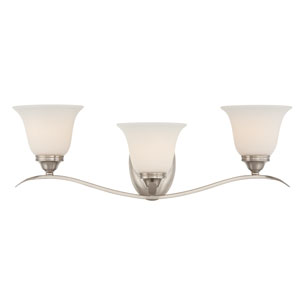McKinney Brushed Nickel Three-Light Vanity with Frosted White Glass Shade