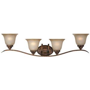 McKinney Burleson Bronze Four-Light Vanity with Light Tea Stain Glass Shade