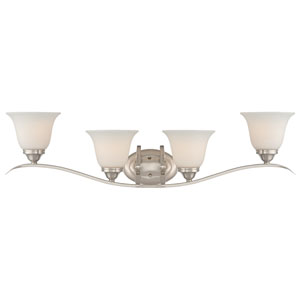 McKinney Brushed Nickel Four-Light Vanity with Frosted White Glass Shade