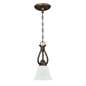 McKinney Burleson Bronze One-Light Mini Pendant with White Frosted Glass Shade