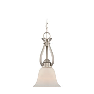 McKinney Brushed Nickel One-Light Mini Pendant with Frosted White Glass Shade