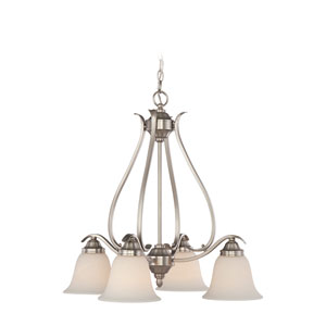 McKinney Brushed Nickel Four-Light Chandelier with Frosted White Glass Shade