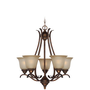 McKinney Burleson Bronze Five-Light Chandelier with Salted Caramel Glass Shade