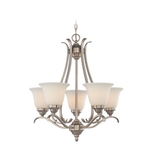 McKinney Brushed Nickel Five-Light Chandelier with Frosted White Glass Shade