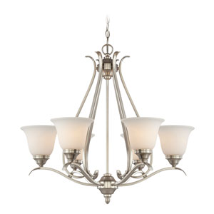 McKinney Brushed Nickel Six-Light Chandelier with White Frosted Glass Shade