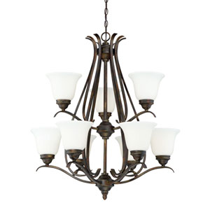 McKinney Burleson Bronze Nine-Light Chandelier with White Frosted Glass Shade
