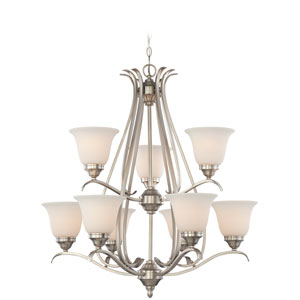 McKinney Brushed Nickel Nine-Light Chandelier with Frosted White Glass Shade