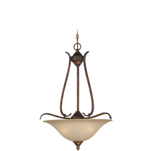McKinney Burleson Bronze Three-Light Pendant with Salted Caramel Glass Shade