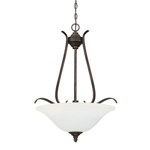 McKinney Burleson Bronze Three-Light Pendant with White Frosted Glass Shade