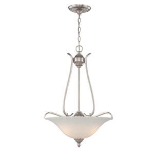 McKinney Brushed Nickel Three-Light Pendant with Frosted White Glass Shade