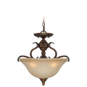McKinney Burleson Bronze Three-Light Semi-Flush Mount with Salted Caramel Glass Shade