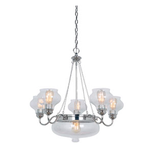 Yorktown Polished Nickel Six-Light Chandelier with Antique Clear Glass Shade