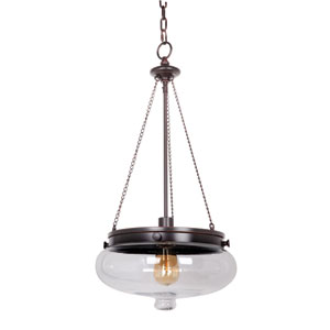 Yorktown Oil Rubbed Gilded One-Light Pendant with Antique Clear Glass Shade