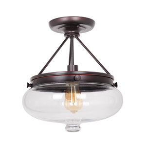 Yorktown Oil Rubbed Gilded One-Light Semi-Flush Mount with Antique Clear Glass Shade