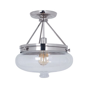 Yorktown Polished Nickel One-Light Semi-Flush Mount with Antique Clear Glass Shade