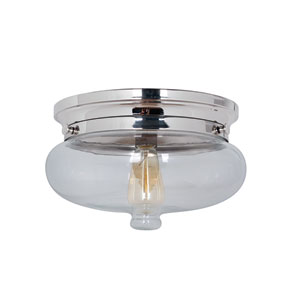 Yorktown Polished Nickel One-Light Flush Mount with Antique Clear Glass Shade
